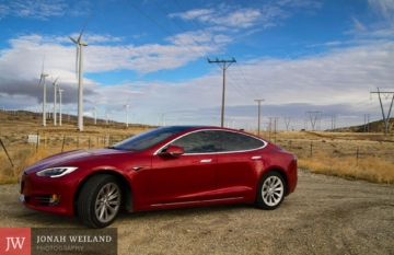 My Tesla Model S 75 at the Tehachapi Windfarm in Mojave, California. Taken with a Canon 7D Mark 2.